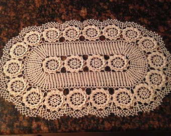Oval table center piece beige doily