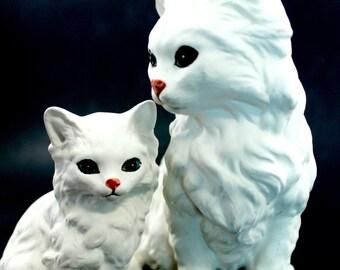 Lefton Mama cat and kitten - vintage, kitties, cats, ceramic/porcelain, 1514, white Persians