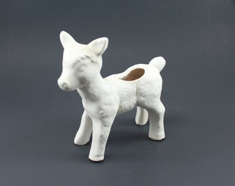White ceramic lamb planter, vintage - Cute spring or Easter decoration