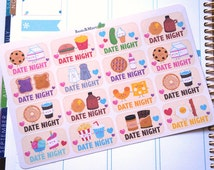 16 Date Night Half Boxes Planner Stickers  / Perfect for Erin Condren Life Planner/ Kikki / Filofax