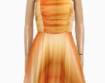 1970s Dip-Dye Chiffon  Dress