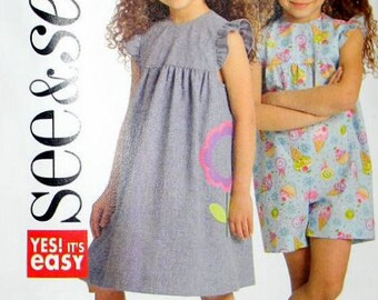 See & Sew B5198 Girls Dress and Jumper (Shortall) Pattern Uncut FF Butterick Yes! It's Easy!