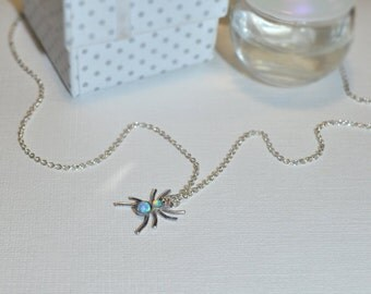 Blue Opal Spider Necklace // Opal Drop Necklace Silver - Drop Charm Necklace - Opal Jewelry - Tiny Necklace - Pendant Necklace
