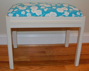 Vanity Bench or Seat, Blue and White