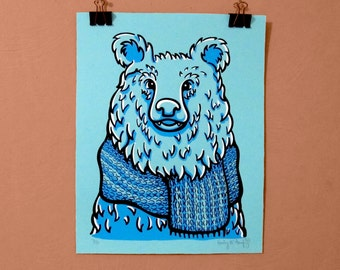 Scarf Bear Screen Print
