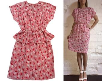 Peplum Mini Dress Pink White Dots