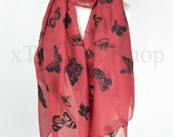 Red Velvet,Butterfly,Butterflies Print Scarf,Wrap,Shawl,Coverup,Ladies Fashion Scarf,Oversize Scarf,Teen Gift,Butterfly Lover,Chunky Scarf