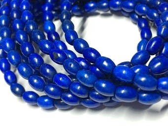 5mm x 6mm Oval Navy Blue Gemstone Beads - Turquoise - Permanent Finish - 16 inch Full strand