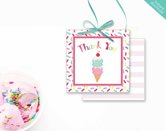 Instant Download Ice Cream Printable Party Square Thank You Tags, Ice Cream Favor Tags, Ice Cream Cone Party Printable, Sprinkles