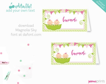 Instant Download Sweet Pea Baby Girl Twins Printable Baby Shower Buffet Cards, EDITABLE Tent Cards, Sweet Pea Baby Shower Buffet Cards