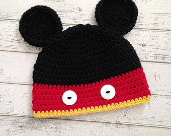 Crochet Baby Boy Mickey Mouse Inspired Hat, Mickey Hat, Mickey Mouse Beanie, Black & Red Mickey, MADE TO ORDER!