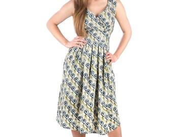 Green / Blue / White Floral Retro 50's Cotton Dress Mid Length