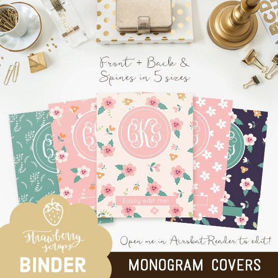 Items Similar To Floral Monogram Binder Cover Printable