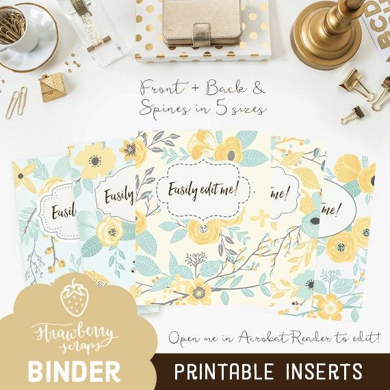 yellow binder cover printable  yellow  u0026 teal