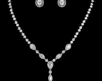 Bridal Jewelry Set, Long Tear Drop Jewelry Set, Tear Drop Necklace, Tear Drop Earrings, Bridal Necklace, Bridal Earrings