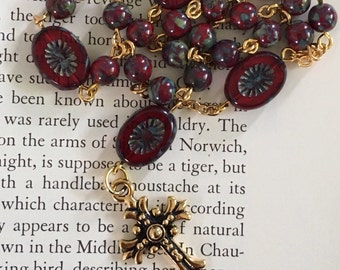 Anglican Prayer Beads, in red Czech Picasso glass, handmade, Protestant