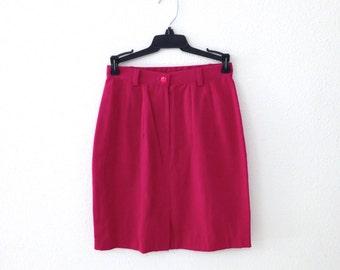 70s/80s Hot Pink High Waist Skirt Fuchsia Denim Mini Skirt Size Small