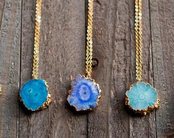 Solar Quartz Necklace,Stalactite Necklace,Stalactite Slice,Gold Edged Stalactite,Stone Necklace,Gift for her,OOAK,BOHO,Raw stone jewelry