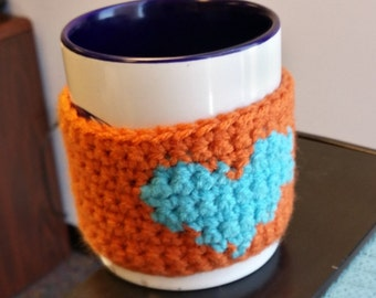 Orange Turquoise Mug Huggers