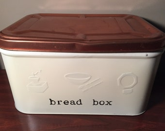 Vintage bread box, upcycled with enamel and hand stamping with permanent ink.