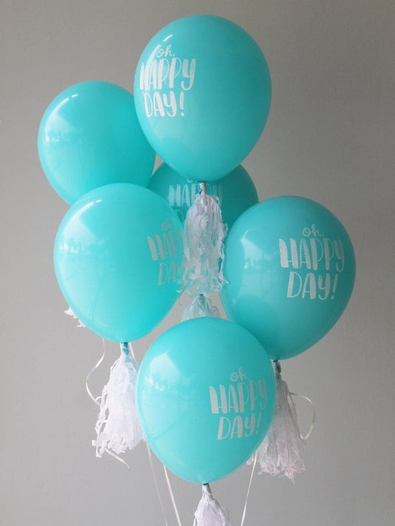 oh happy day balloons in robin 39 s egg blue celebration. Black Bedroom Furniture Sets. Home Design Ideas