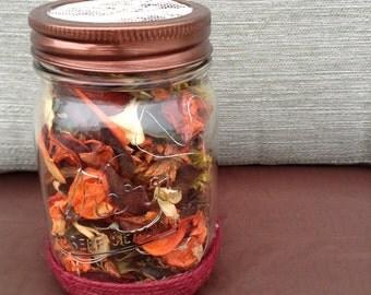 Mason Jar Lights, Mason Jar with lights and potpourri, Mason Jar gift, Rustic Mason Jar