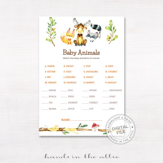 Revered image within baby animal match game printable