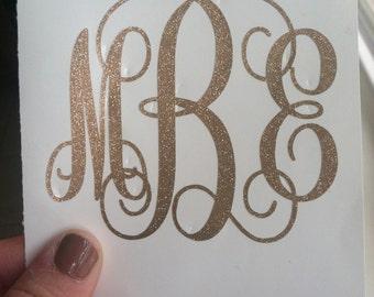 Glitter monogram decal