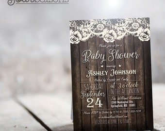 Country Baby Shower Invitation, Rustic Personalized Printable DIGITAL FILE