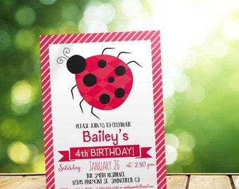 Ladybug Girl's Birthday Invitation - Personalized Printable DIGITAL FILE