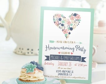 Blue, Pink, Mint Green Housewarming Invitation - Personalized Printable DIGITAL FILE - Housewarming Party Invitation