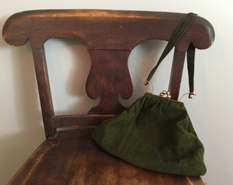 Forest Green, Suede Leather, Art Deco Handbag from the 40's