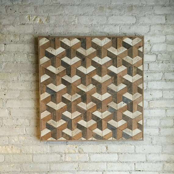 Reclaimed Wood Wall Art, Tessellation, 30 x 30, Lath, Pattern, Geometric