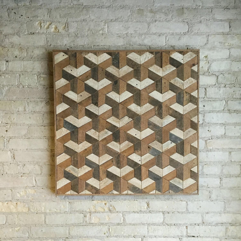 Wood Wall Patterns : Reclaimed wood wall art tessellation lath
