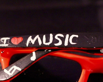 I Love Music Hand Painted Sunglasses (Ready To Ship) / Music Lover / Musical Notes / Gifts for Her / Gifts for him / Stocking Stuffers