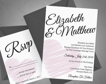 DIY Heart Printable Wedding Invitation + RSVP Template - Instant DOWNLOAD - You Change Color & Text and Print
