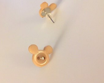 Mickey Button Stud earrings Tan/Light Brown - Disney inspired - Mickey Mouse
