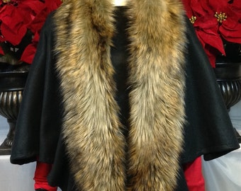 """Warm & Luxurious Golden Wolf Fancy Fur 64"""" Faux Fur Infinity Scarf/Machine Wash/Perfect Gift for Him-Her/Gift-Ready Box+Card/Ready to Ship!!"""