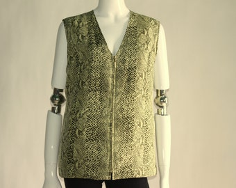 Vintage Women's Green Vest with Snake Pattern (with Liner) with Two Pockets- Size MEDIUM