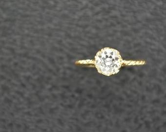 1.15 Ct.Vintage Inspired European Cut Diamond Ring on 18K Yellow Gold