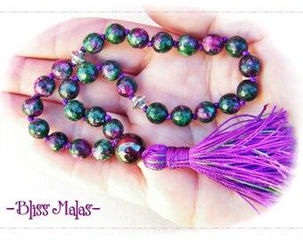 27 Bead Pocket Mala, Mini Mala, Gemstone Wrist Mala, Tibetan Beads, Prayer Beads, Faceted Ruby in Zoisite, Garnet, Crown and Root Chakra