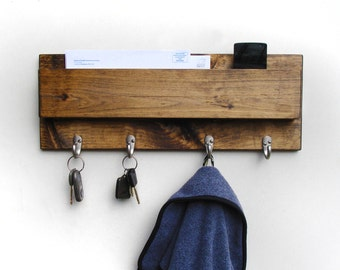 Wall Key Holder, Wall Key Rack, Wood Mail Organizer
