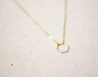 Hexagon Necklace / Dainty Gold Hexagon Necklace / Geometric Necklace / Layered Necklace / Bridesmaid/Birthday Idea