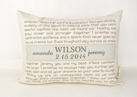 Wedding Vows Or Song Pillow Anniversary Gift Two By DoveAndDavid