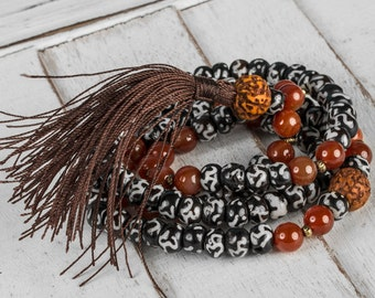 Om Mala, Meditation Necklace, Japa Mala, Om Necklace, Yoga Mala, Yoga Necklace, Boho Bead Necklace