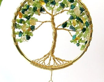 Tree of Life Sun Catcher, Peridot and Citrine Suncatcher, Crystal Prism Rainbow Maker, Feng Shui Crystal with Wire Tree Sculpture