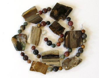 Petrified Wood Necklace, Earth Tone Statement Necklace with Red Creek Jasper and Hill Tribe Silver, Unique Stone Jewelry