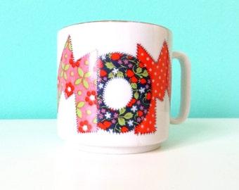 MOM patchwork mug // Gold Rimmed // 1970's Cartoon