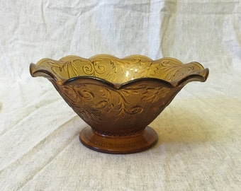 Vintage Indiana Tiara Sandwich Glass Footed Console Bowl, Amber Glass Fruit Bowl
