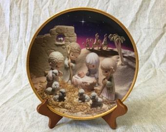 Vintage Precious Moments 1st Annual Classic Nativity Plate 1994, Unto Us A Child Is Born, Hamilton Collection Plate